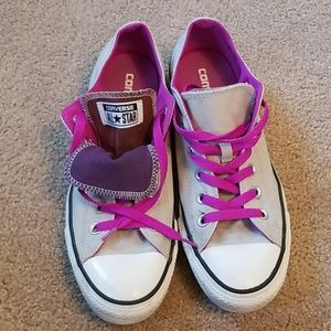 Converse All Star Gray and Purple Sneakers